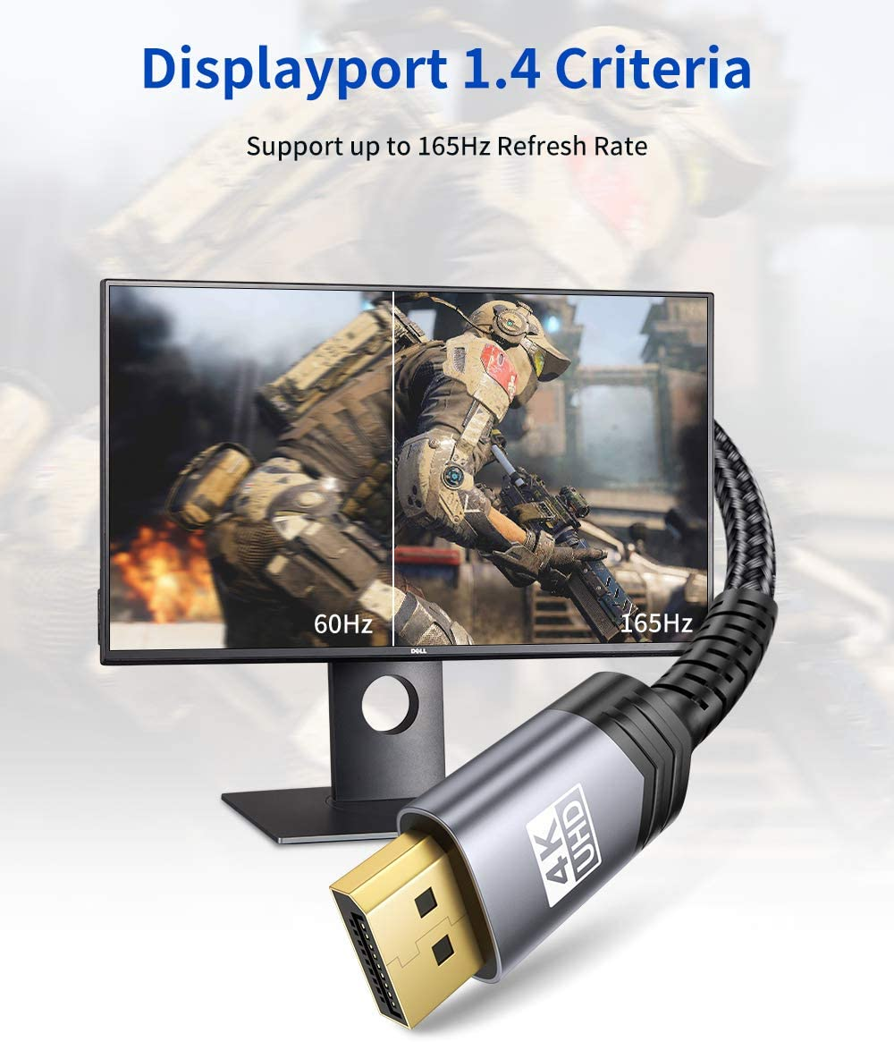 DisplayPort to DisplayPort Cable 10ft Grey Gold-Plated Braided Ultra High Speed DisplayPort Cord for Laptop PC TV etc- Gaming Monitor DP Cable 4K@60Hz, 2K@165Hz, 2K@144Hz JSAUX 1.4//1.2 DP Cable