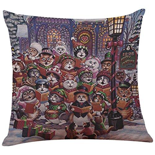 Challyhope Christmas Cotton Linen Pillow Case Sofa Cushion