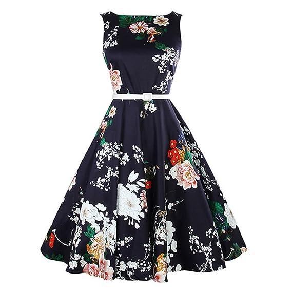 Vestidos Mujer Verano 2018 Atractivo Vestido Vintage Mujer para Fiesta Baile 50s Linda Floral Impresión de