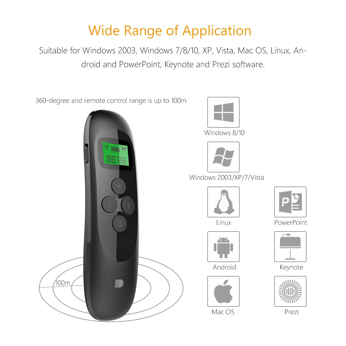 Presentation Remote, Rechargeable Powerpoint Clicker Wireless Presenter with LCD Display Timer, 2.4GHz Wireless PPT Clicker Laser Pointer by Doosl (Image #4)