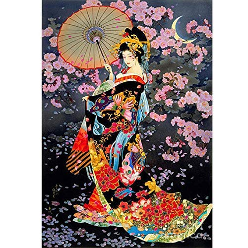 WiHome 5D Diamond Painting Kits for Adults Full Drill Japanese Woman Portrait Embroidery Rhinestone Painting