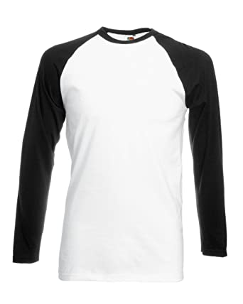 Fruit of the Loom Herren Langarmshirt Weiß Weiß / Schwarz Small
