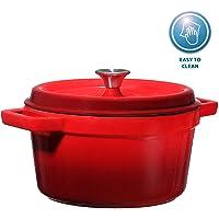 Bruntmor, Enameled Cast Iron Dutch Oven Casserole Dish 6.5 quart Large Loop Handles & Self-Basting Condensation Ridges On Lid (Fire Red)