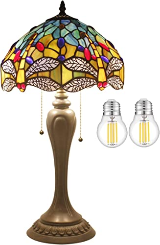 Tiffany Lamp 2LED Bulb Included Sea Blue Yellow Stained Glass Crystal Bead Dragonfly Style Table Light W12H22 Inch S128 WERFACTORY Lamps Lover Friends Kids Parents Living Room Bedroom Study Gift