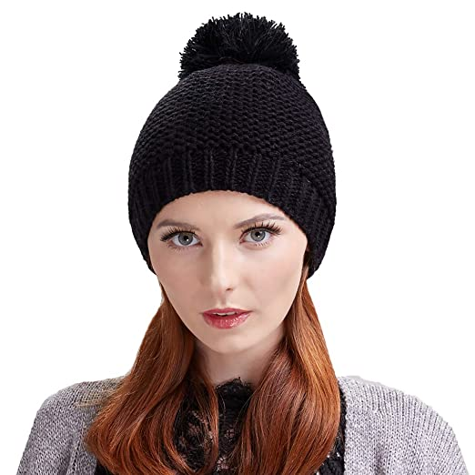 d25cf1d425b Taylormia Women s Winter Warm Soft Thick Wool Knit Beanie Hat with Pompom( Black)