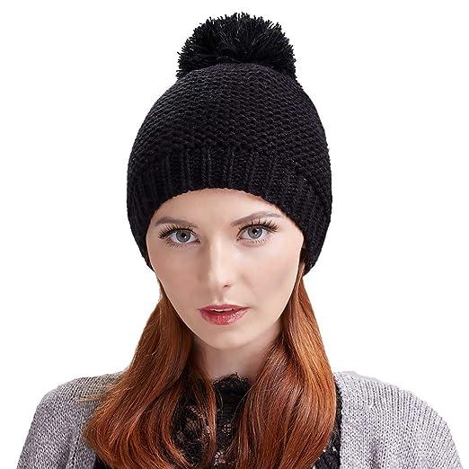 Taylormia Women s Winter Warm Soft Thick Wool Knit Beanie Hat with  Pompom(Black) ba38216a38b