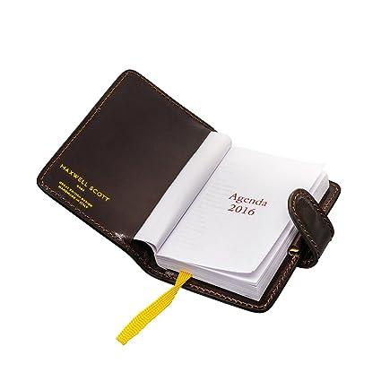 Maxwell Scott® - Mini agenda de bolsillo marrón de cuero ...