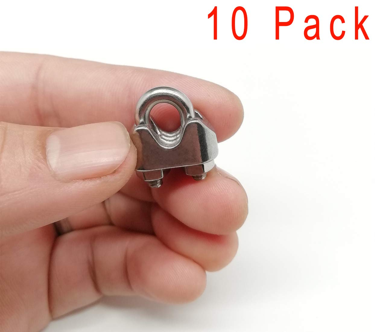 M4-Wire Rope Clip-10p Alele Wire Rope Clip Clamp M4 Stainless Steel Wire Clamps Fastener,10 Pack