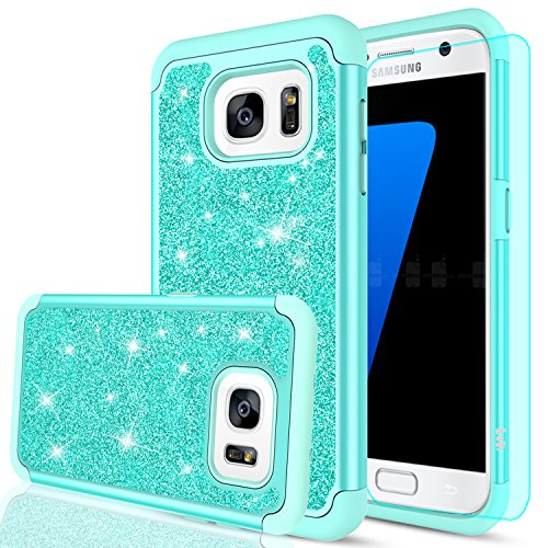 Galaxy S7 Edge Glitter Case, LeYi Sparkle Bling Cute Girls Women Design [PC Silicone Leather] Dual Layer Heavy Duty Scratch-Proof Protective Phone Cases for Samsung Galaxy S7 Edge 2016 TP Mint