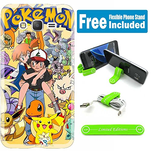 [Ashely Cases] Samsung Galaxy Grand Prime (G530) Cover Case Skin with Flexible Phone Stand - Pokemon Monsters Ash Photo - Pokemon Gaming