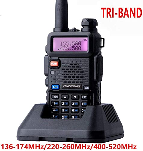 Tri-Band Radio Baofeng Radio Series Walkie Talkies VHF 1.25M UHF Amateur Handheld Ham Two Way Radios with Earpiece and Mic Includes Dual Band Antenna, 220 Antenna by LUITON