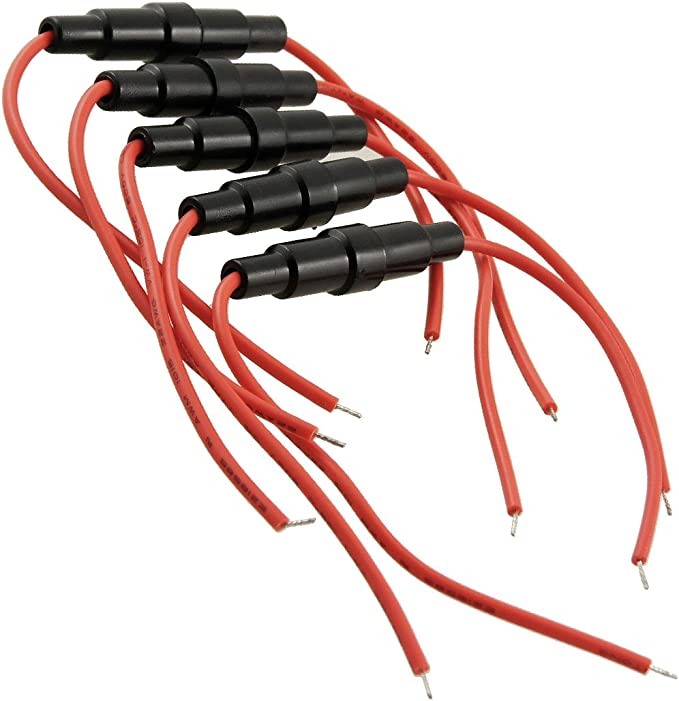 sourcing map 5 pcs 5 x 20mm Portafusibles Tipo Tornillo en línea con Cable de 22 AWG