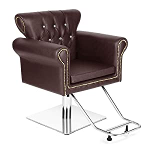 """Vintage Hydraulic Styling Barber Chair Salon Spa Beauty Chairs Equipment (20"""", Brown)"""