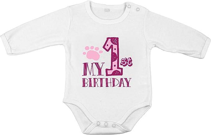Mi Primer cumpleaños bebé recién Nacida Body de algodón niña ...