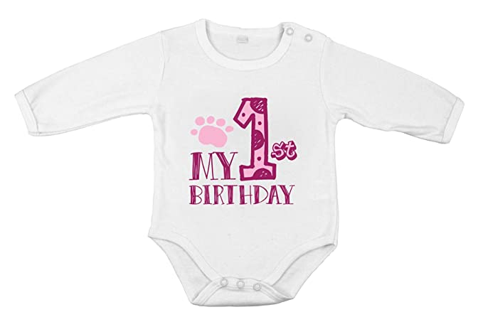 Mi primer cumpleaños bebé recién nacida body de algodón niña pequeña ...