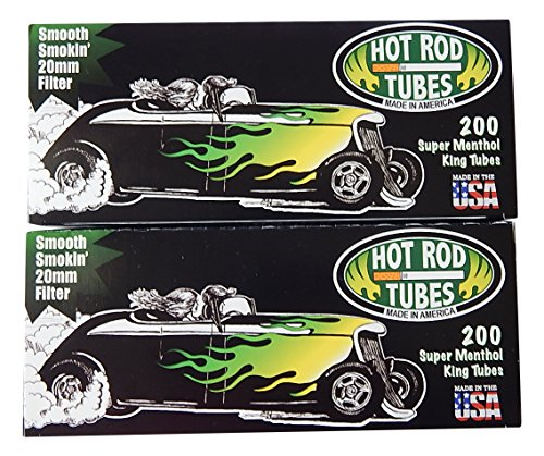 Hot Rod Super Menthol Cigarette Tubes King Size, 2-Pack- 400 tubes total