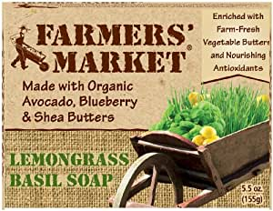 Farmers' Market Natural Bar Soap, Lemongrass and Basil, 5.5 Ounce (Pack of 2)