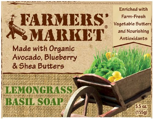 Farmers' Market Natural Bar Soap, Lemongrass and Basil, 5.5 Ounce (Pack of 2)