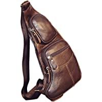 Leather Sling Bag Crossbody Backpack for Men Women Outdoor Travel Camping Shoulder Chest Day Pack Vintage Backpacks…