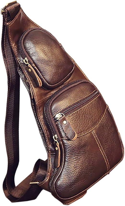 Men's Genuine Leather Shoulder Bag Casual Sling Bags Waist Bag w// Shoulder Strap