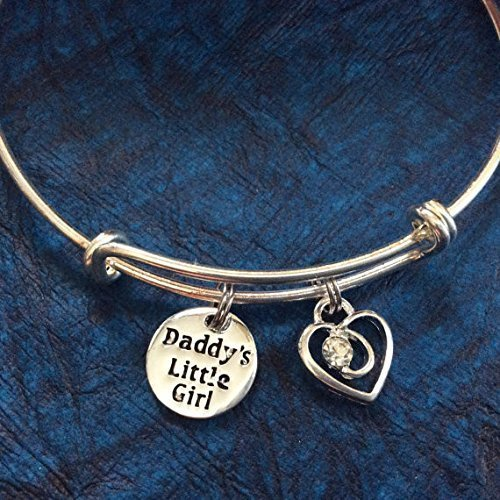 Daddy's Little Girl with Crystal Heart Expandable Charm Bracelet