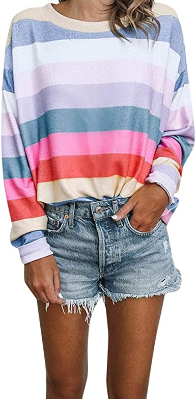 STORTO Women Casual V Neck Stripe Patchwork Shirt Long Sleeve Pullover Blouse Tops