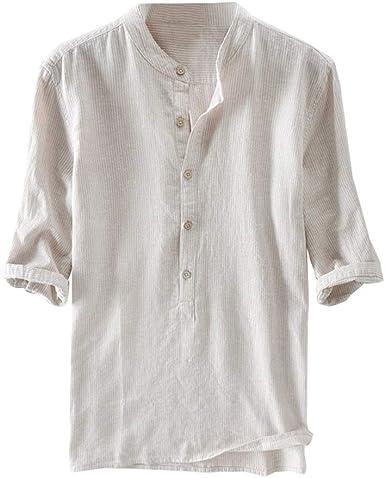 Hombre Rayas Camisa Henley Camisa con Botón Cuello Mao Regular Fit Shirt Verano Elegante Básica Camisa Tops Tallas Grandes M-4XL: Amazon.es: Ropa y accesorios