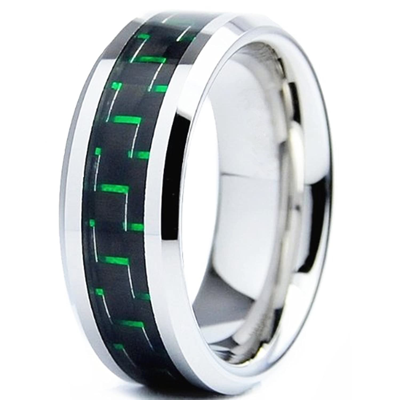 King Will GENTLEMAN 8mm Green Black Carbon Fiber Inlay Silver