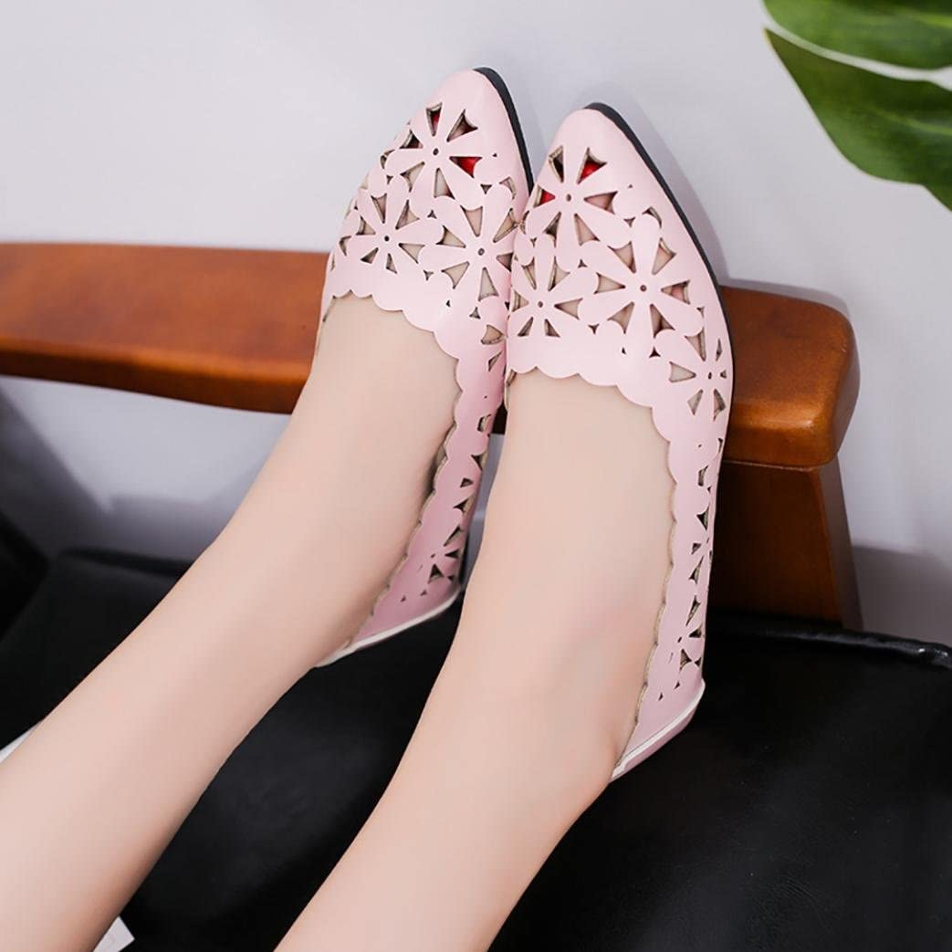 OYSOHE Sommer Frauen Flache Ferse Aush/öhlen Blumen Form Nackte Schuhe Wies Zehe Schuhe Spitze Weiche Sohlenschuhe