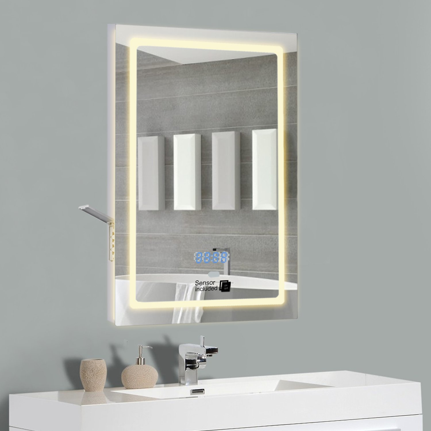 Demister Mirror Illuminated Led Mirror With Shaver Socket And Clock