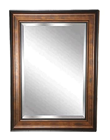 American Made Rayne Wooden Bronze and Black Beveled Wall Mirror, 44.75 x 38.75