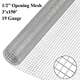 V Gard 1/2-Inch Square Mesh Hardware Cloth 19 Gauge Galvanized Fence 36 in.x150 ft. for Chicken/Rabbit Coop Garden Fence Poultry Fence Tree Guards