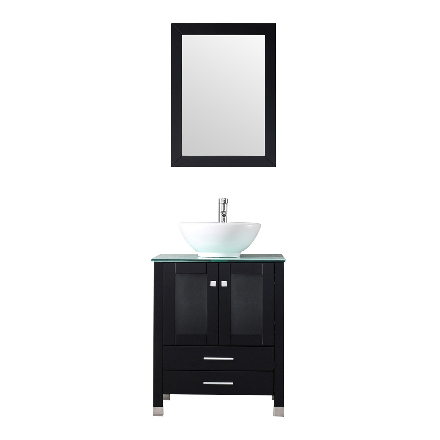 Bathjoy 24 Modern Single Wood Bathroom Vanity Cabinet White Square