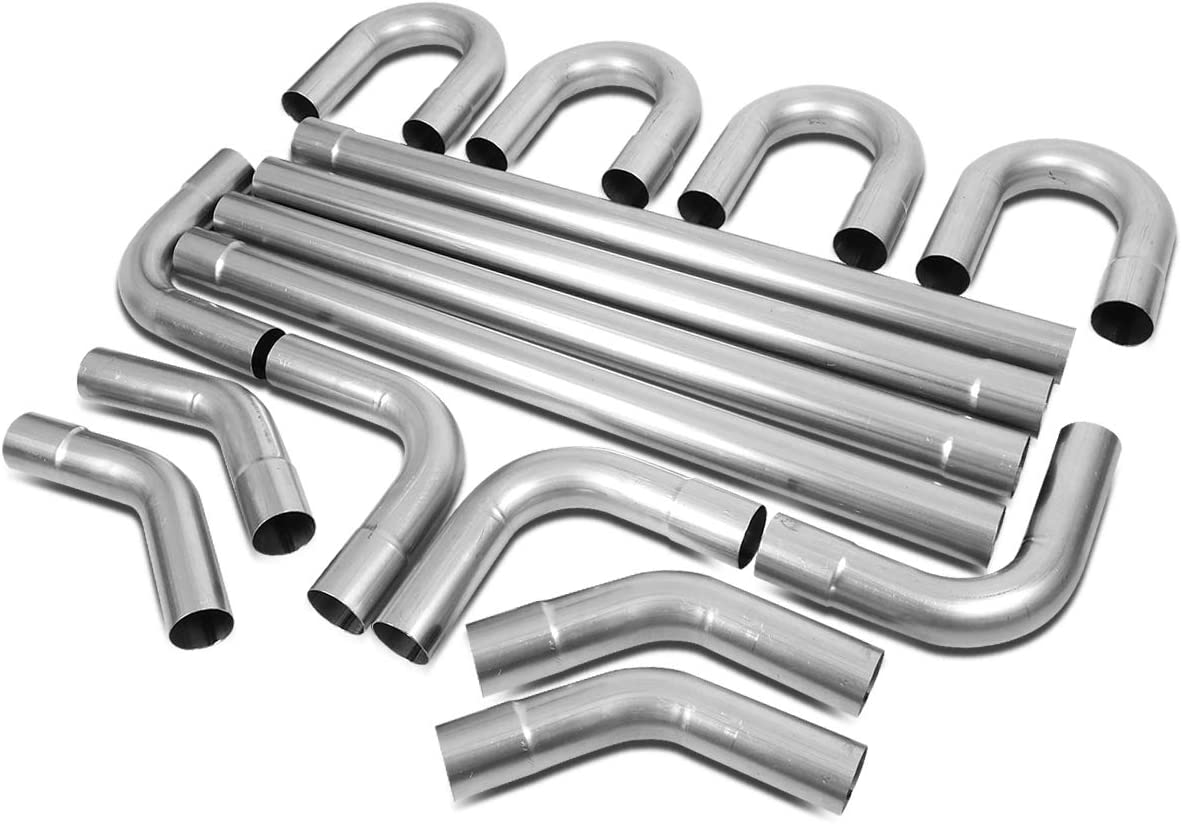 3 Inches OD DIY Custom Exhaust Pipe Kit 16-Piecese Straight /& 45//90 Degree /& U-Bends