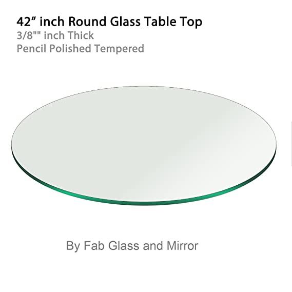 Amazon Com 42 Inch Round Glass Table Top 3 8 Thick Pencil Polish