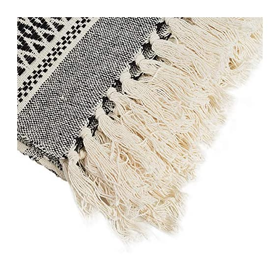 MOTINI 100% Cotton Decorative Blankets Cozy Grey and White Throw Blankets Hand-Knitted with Tassel for Sofa, Couch, 60 x 50 inch - A subtle diamond motif gives this option a pop of pattern while it's fringe trim gives a timeless design that blends effortlessly into any ensemble Fits the rustic, vintage, or distressed look - This cozy throw blanket adds a classic touch and exceptional texture & style to any home to any living, dining, bedroom, home office or foyer with its timeless design and practical size. This beautiful high-quality 100% cotton decorative blanket will last for years to come. It is lightweight making it great for summer and easy transportation between rooms. It measures 60 x 50 inches. - blankets-throws, bedroom-sheets-comforters, bedroom - 61UozQBfpQL. SS570  -