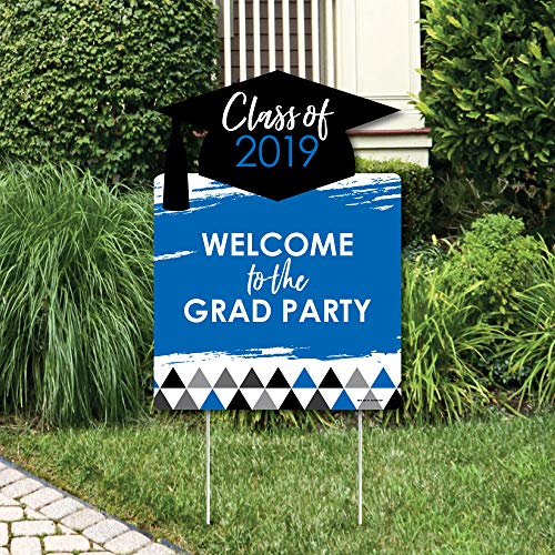 Big Dot of Happiness Blue Grad - Best is Yet to Come - Party Decorations - Royal Blue 2019 Graduation Party Welcome Yard Sign