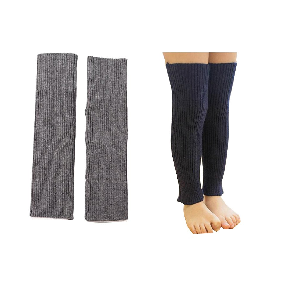 Lucky staryuan 2Pairs Children Leg Warmer Long Winter Thicker Arm Leg Warmer for Girl Kids (Grey Navy Blue)