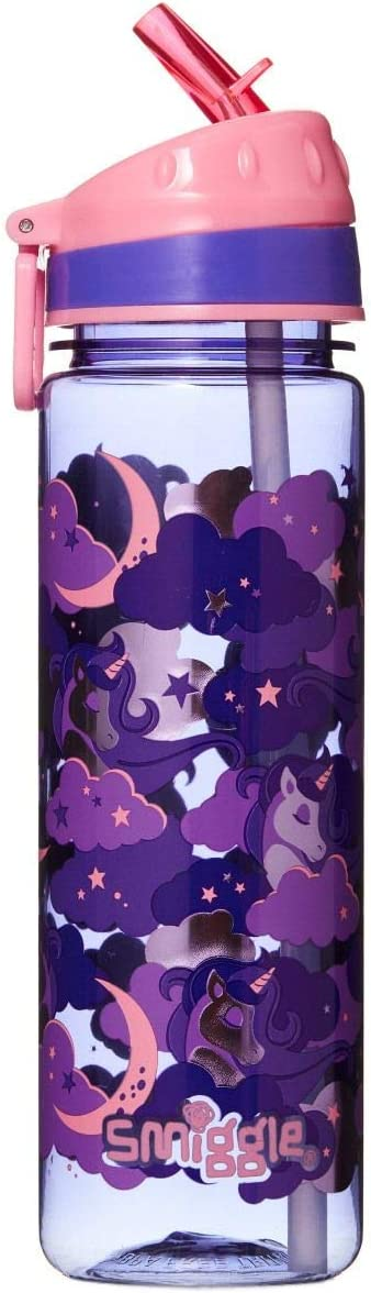 Con dibujos de unicornios Smiggle Seek botella de agua rellenable para ni/ñas y ni/ños con boquilla a presi/ón y 650/ml de capacidad
