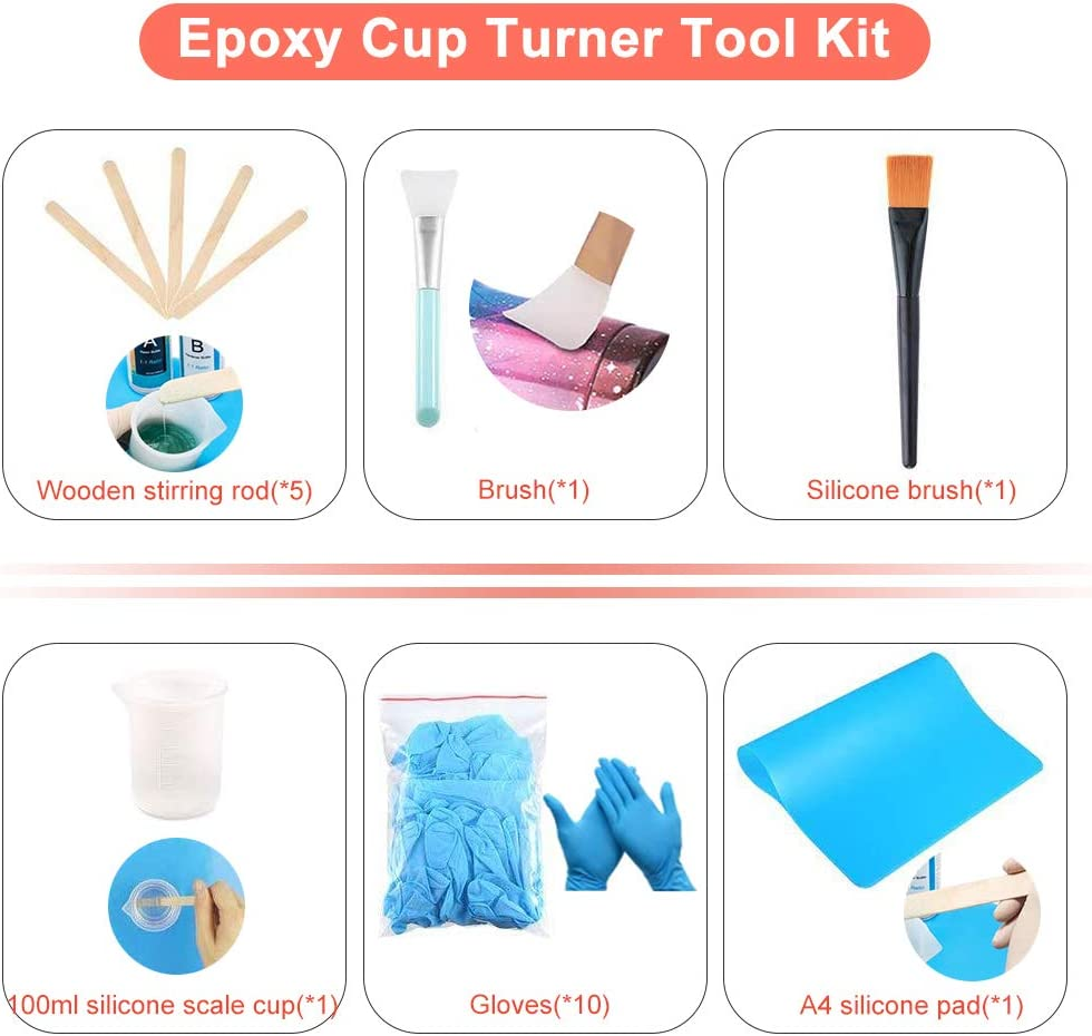 MARATTI Cup Turner for Crafts Tumbler-Professional Tumbler Turner Machine for DIY Glitter Epoxy Crafts,with Extended Wire+Complimentary Accessories Rose Gold