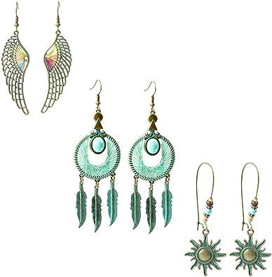 Filigree Earrings Large Boho Earrings Turquoise Earrings Bohemian Earrings Bronze Tribal Earrings Bohemian Jewelry Boho Jewelry.