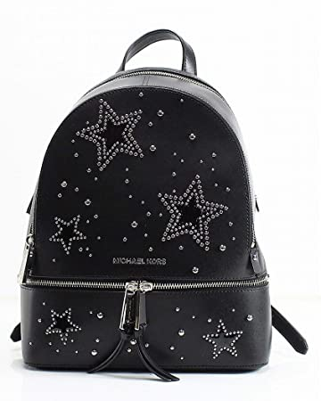 9cc7596bc662 Image Unavailable. Image not available for. Color: Michael Kors Leather Rhea  Zip Medium Backpack, Black/Star ...