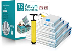 BRIGENIUS Vacuum Storage Bags, 12 Pack Space Saver Bags (3 x Small, 3 x Medium, 3 x Large, 3 x Jumbo), Save 80% More Storage Space for Clothes, Double Zip Seal & Leak Valve, Travel Hand Pump Included