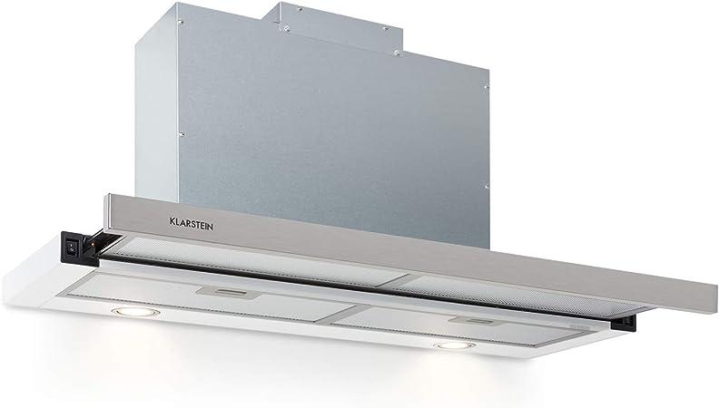 Klarstein Mariana 90 Extractor de humos plano - 90 cm, clase C, 500 m³/h, extracción y ventilación, luces LED, botones, bajo mueble, blanco: Amazon.es: Hogar
