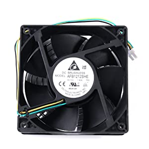 Delta Fan 120mm PC Fan High Speed - AFB1212SHE 2018 Updated Version High Speed 12V DC 120mm 3Pin PC Computer CPU Case Exhaust Muffin Fan 200CFM with Metal Finger Guard Grill