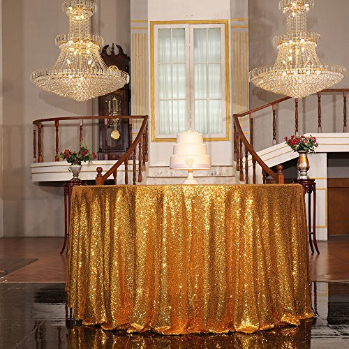 """PartyDelight Sequin Tablecloth, Christmas Tree Skirt, Round, 50"""", Gold"""