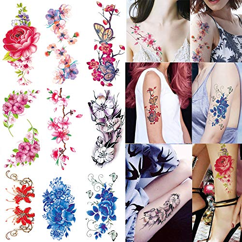 Flower Temporary Tattoos 9 Sheets Sexy Body Tattoo Sticker for Men Women Flowers -