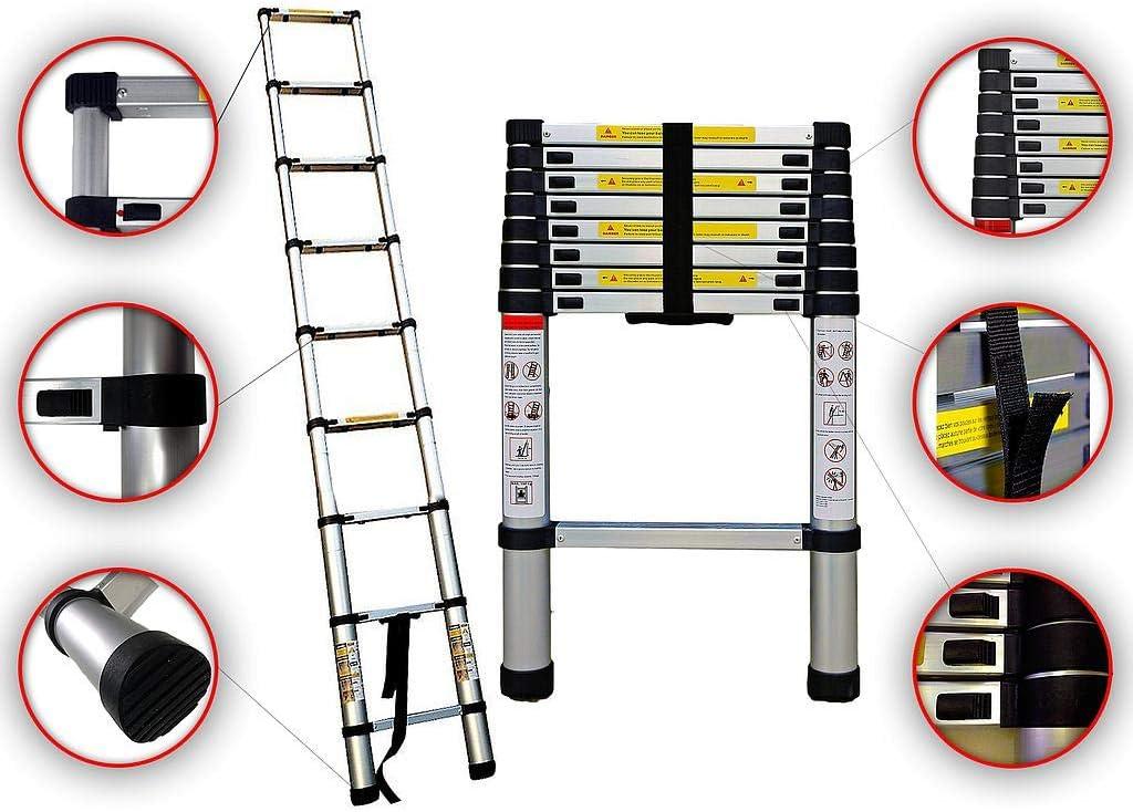 Sotech - Escalera Plegable, Escalera Telescópica, 2,6 Metro(s), EN 131, Carga máxima: 150 kg, Estándar/Certificación: EN131: Amazon.es: Hogar