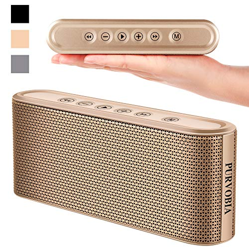 PURVOBIA Ultra Thin Slim Bluetooth Speaker – Bluetooth 5.0 Wireless Speaker Mini Portable Player Deep Bass Stereo Sound   Smart Touch Control w/ 20 Hour Playtime 5000mAh Power Bank Battery (Gold)
