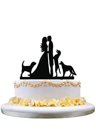 Amazon cake toppers bride and groom with 3 dogs wedding cake cake toppers bride and groom with 3 dogs wedding cake toppers wedding decoration junglespirit Image collections